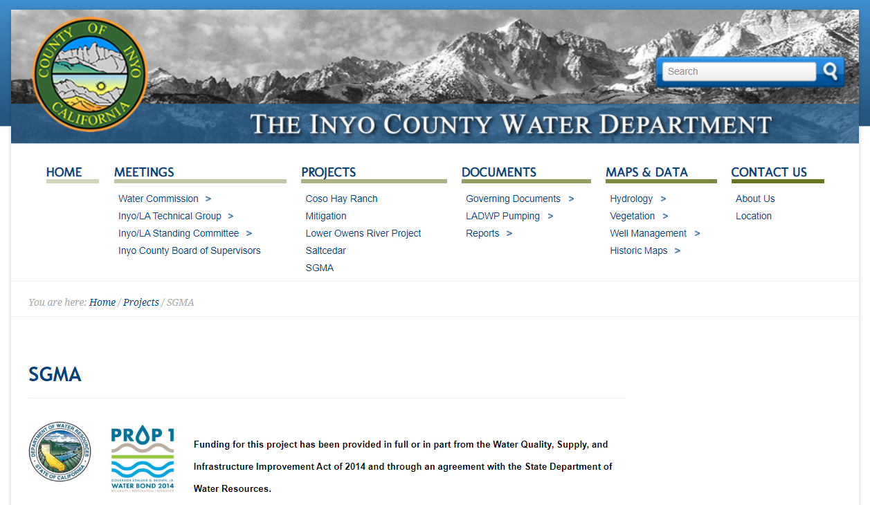 Owens Valley Groundwater Authority is Seeking a New Website ($5k – $25k)