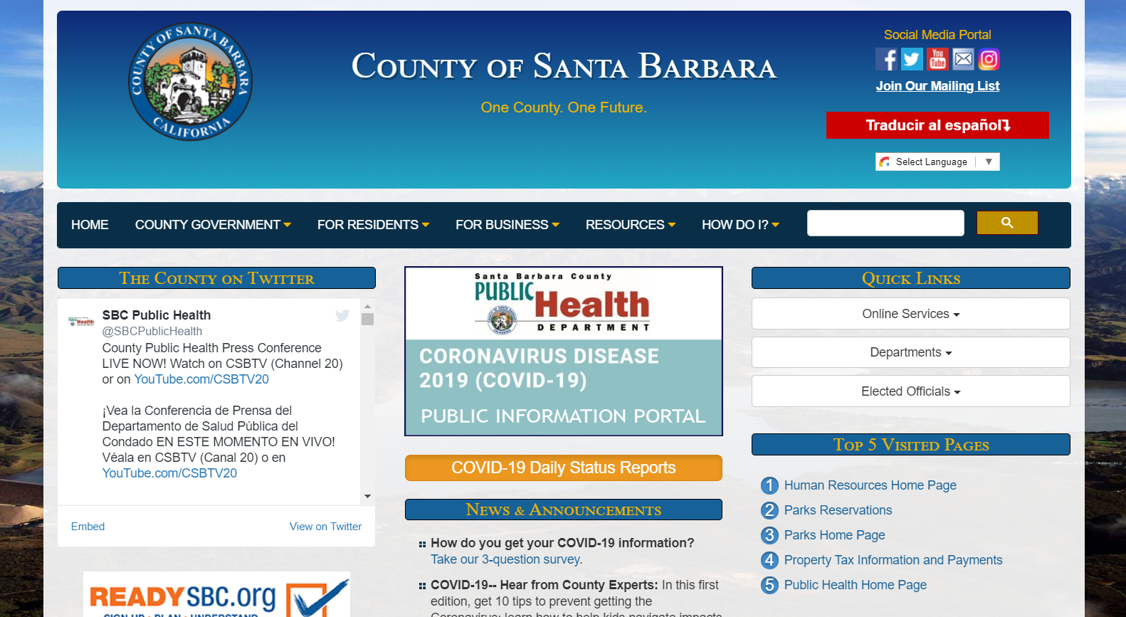 The County of Santa Barbara Needs a New Website with Fresh New Design, CMS, Video, Live Chat, Events, SEO ($15k – $50k)