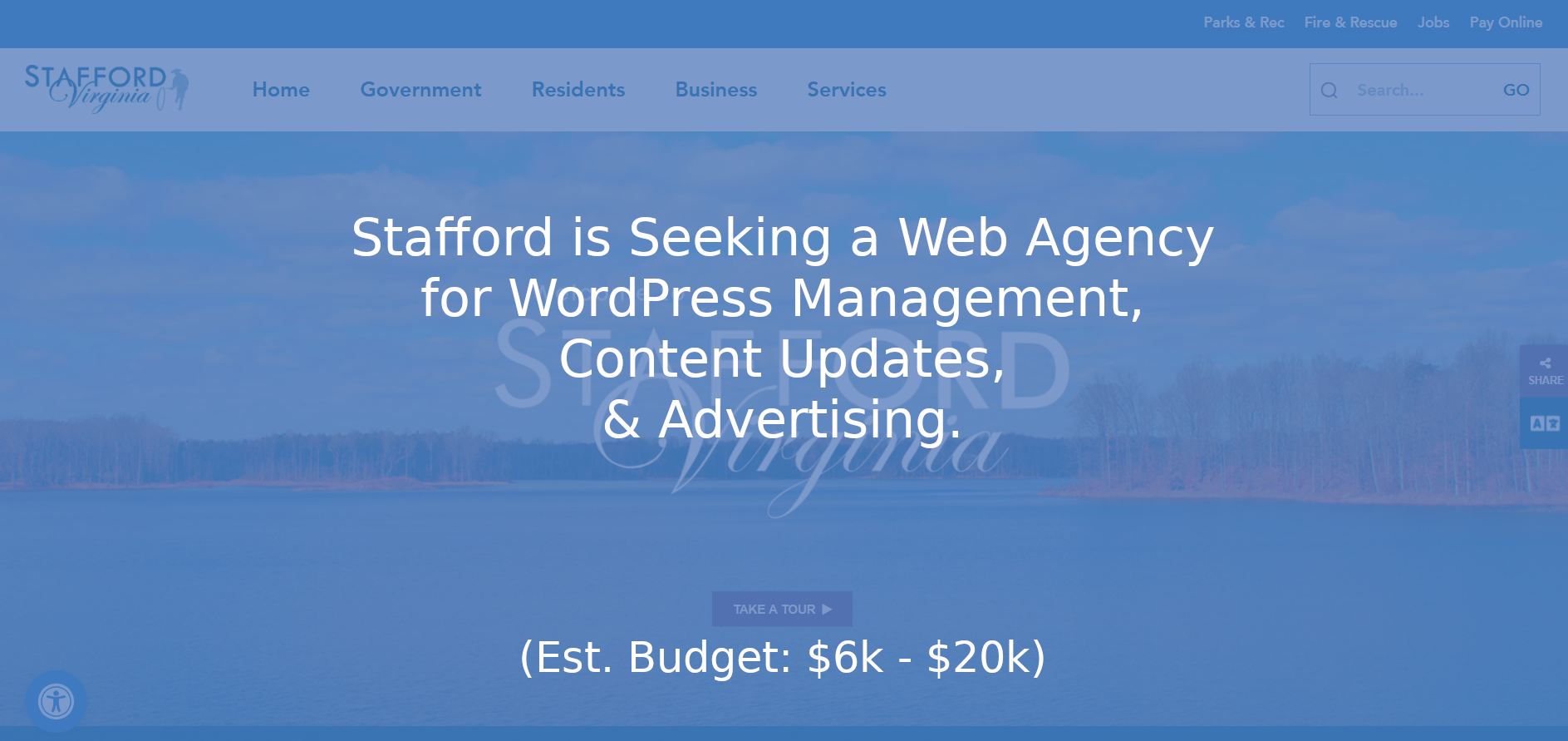 Stafford Needs WordPress Maintenance, Content and Advertising Services (*Est. $6k – $20k)